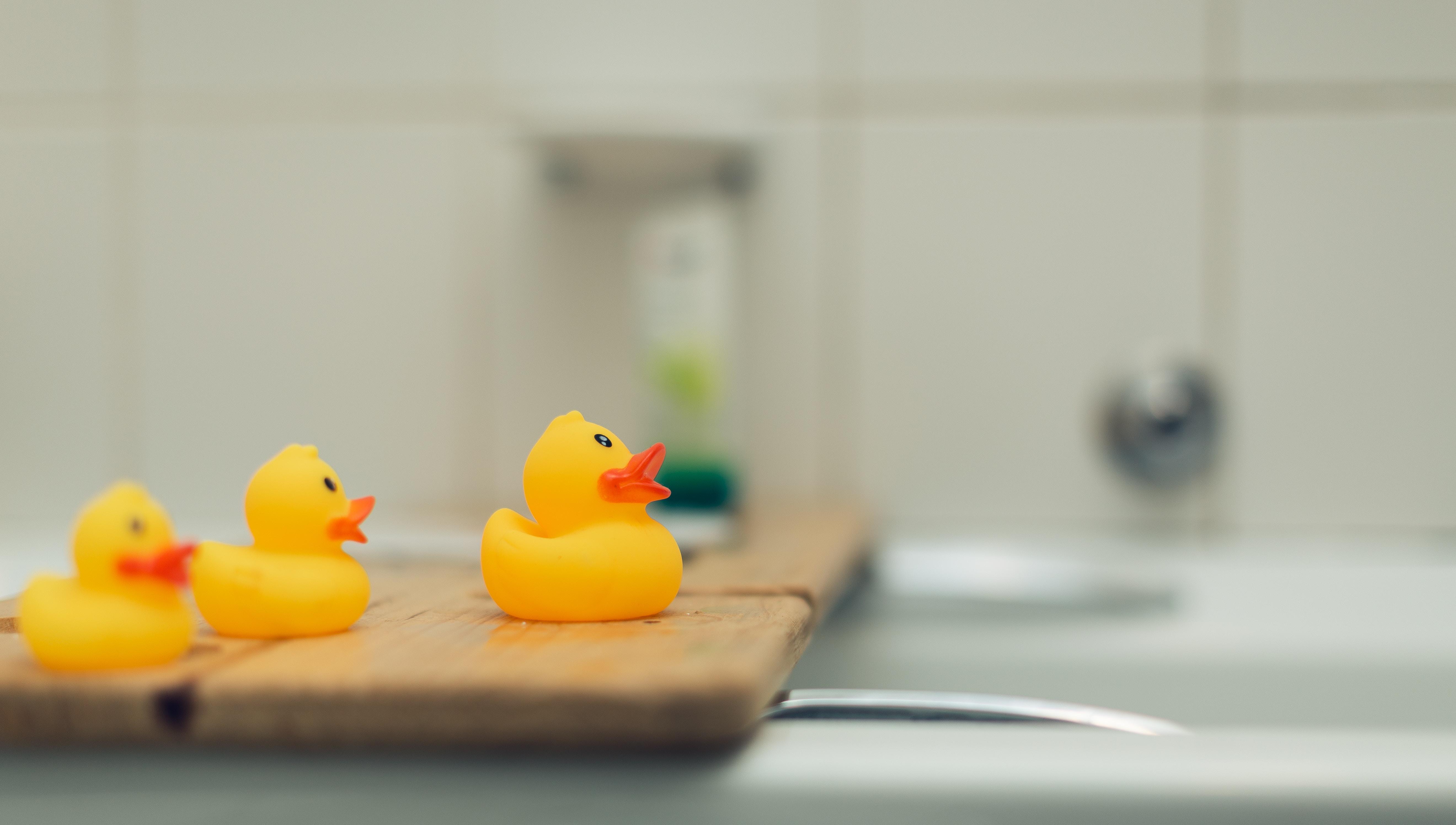 Quietscheentchen im Badezimmer
