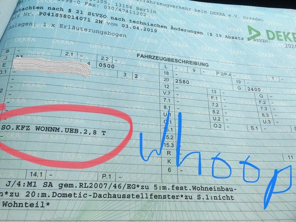 Prüfungszertifikat der Dekra zur Zulassung zum Wohnmobil
